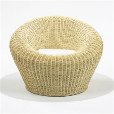 Rattan Round Chair, Model T 3010 By Isamu Kenmochi