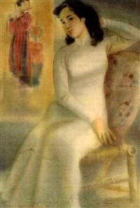junge frau im langen, weißen aoyai auf einem rattansessel by nguyen van thien