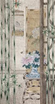 peony and bamboo by liu hongwei