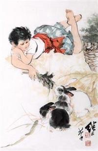少年饲兔图 by liu jiyou