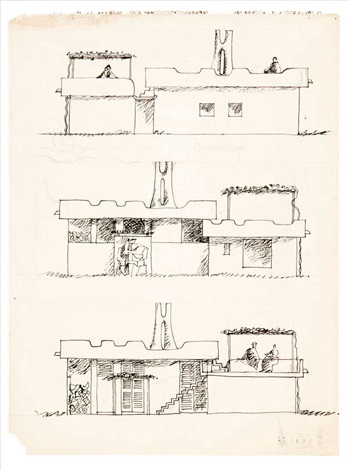 Drawing And 5 Architectural Studies (6 Works) By Constantino Nivola