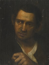 a man, bust-length, holding up his fist by annibale carracci