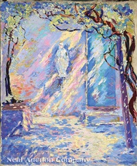 shrine of the virgin - afternoon sunlight by anne wells munger