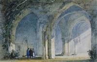 gotisches gemäuer mit seitlich einfallenden sonnenstrahlen, personenstaffage by william henry pyne