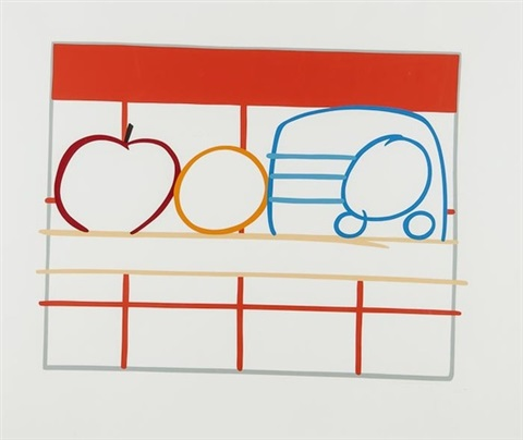 still life with apple orange and radio by tom wesselmann
