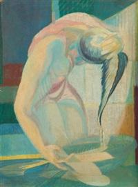 jeune fille se lavant les cheveux by jacques courtens