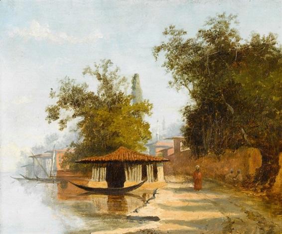personnage au bord du nil et à l′ombre de grands arbres avec kiosque et felouque minaret en arrière plan by charles théodore frère bey frère