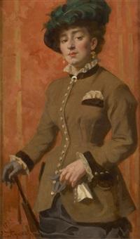 jeune femme à l'ombrelle by edouard agneessens