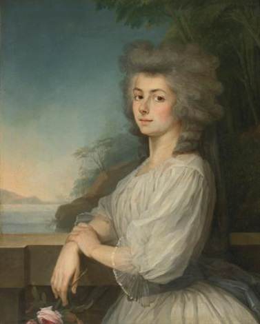 portrait of a woman on a terrace a landscape beyond by antoine vestier