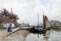 the haven veere, holland by john ernest aitken