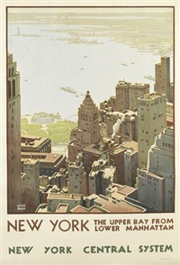new york/the upper bay from lower manhattan by leslie ragan