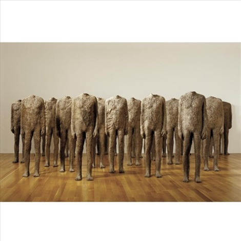 crowd - standing figures (in 22 parts) by magdalena abakanowicz