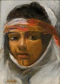 portrait d'orientale au bandeau rouge by emile aubry