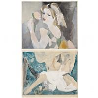 femme à la rose/jeune femme au hamac (2 pieces) by marie laurencin