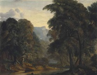 an extensive wooded river landscape, with deer and goats watering by a riverbank by john glover
