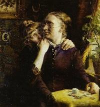 ung pige hvisker en hemmelighed til bedstemor by christian emil rosenstand