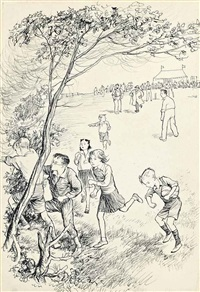 illustrations for susan, bill and the ivy clad oak by malcolm saville (one illustrated) (4 works) by ernest h. shepard