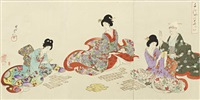 two fold-out albums by toyohara chikanobu