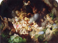 titania's elves robbing the squirrel's nest - midsummer night's dream by robert (huskisson) huskinson
