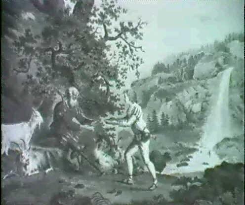 schweizer gebirgslandschaft mit wasserfall vorn links reicht ein hirtenjunge einem beinamputiertem soldaten by gottfried locher
