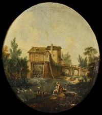 paisaje fluvial con molino y lavandera by boucher