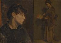 jeune femme à l'éventail et esquisse (2 works) by edouard agneessens