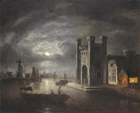 a moonlit estuary with a forge near a castle, windmills and a town beyond by abraham pether