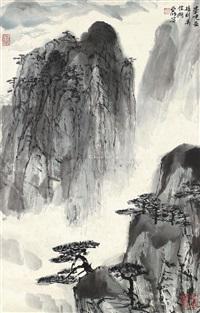 山水 立轴 设色纸本 by ya ming