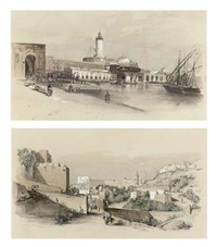 the port of sidi ferruch (+ the port of oran, algeria; pair) by alfred de courville