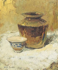 still life with a brass vessel and a blue and white bowl by adriaan hendrik boshoff
