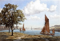 estuary scene with sailing barges, possibly east anglia by john ernest aitken