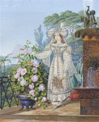 junge dame in orientalischer kostüm vor südlicher küstenlandschaft by franz xaver nachtmann