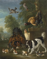 a family of chickens fending off a spaniel in a landscape by pieter casteels iii