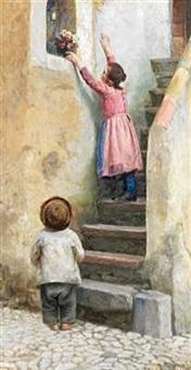 to italienske børn på trappen sætter blomster i en niche by cilius (johannes konrad) andersen