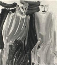 two women (sitting) by vicki varvaressos