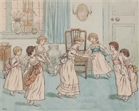 blind man's buff: illustration for the front cover of kate greenway's book of games by kate greenaway