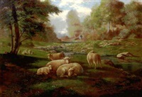 pastoral landscape with sheep by l.m. newberry