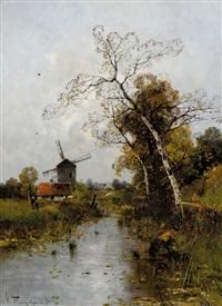 windmühle in herbstlicher bachlandschaft by heinz flockenhaus
