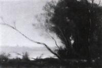 meeresküste mit buschwerk, bäumen und sandstrand by albert jean adolphe