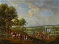 weite landschaft mit dorfbewohnern bei den vorbereitungen zu einem vogelschießen auf der dorfwiese by anonymous-flemish (17)
