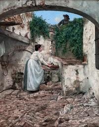pelando la pava junto a la fuente by josé pinelo llull