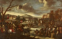 nach der schlacht. soldatenheere vor einer belagerten stadt; vorne rechts würfeln männer um ihr leben by cornelis de wael