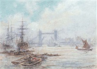 shipping on the thames before tower bridge by walter duncan