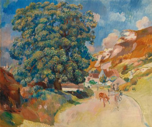 le grand arbre au bord de la route by pierre auguste renoir