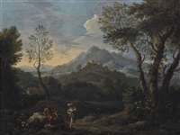an extensive mountainous landscape with classical figures in the foreground, a castle on the hilltop beyond by jan frans van bloemen
