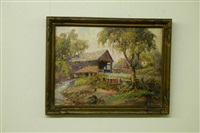 autumn landscape with covered bridge by george a. newman