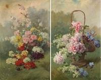 bodegones de flores (pair) by aurelio tolosa alsina