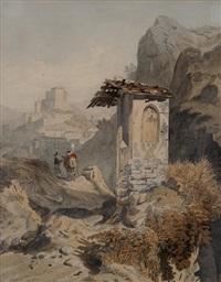 kreuzwegstation bei subiaco, mit blick auf den ort und die sabiner berge by karl august lindemann-frommel