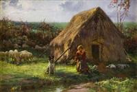 pastorella con gregge presso un capanno by augusto corelli