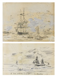 l'entrée du port (+ coucher de soleil avec voilier, verso) by eugène boudin